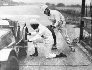 Austin 7 TT Model. Photo. Hon Victoria Worsley and RSL Boote change tyres(Photo B)
